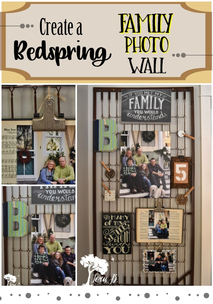 Family Photo Wall on a vintage bedspring