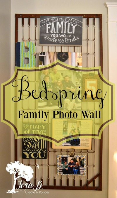 vintage bedspring with family photo collage