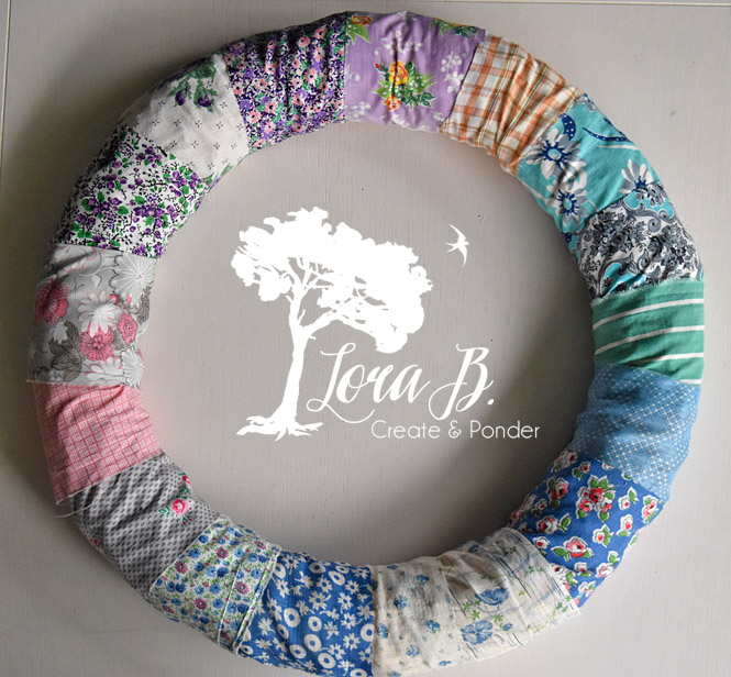 vintage fabric on straw wreath form