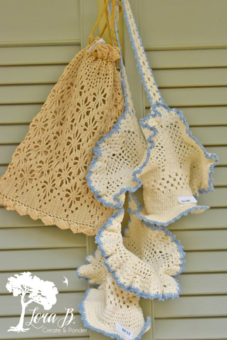 Crocheted lace baskets