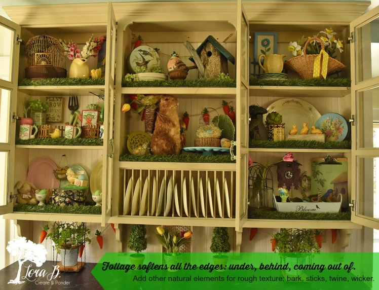 foliage tucked throughout kitchen cupboards