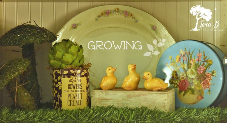 Little duck, mushrooms and flowers all create a springtime scene.