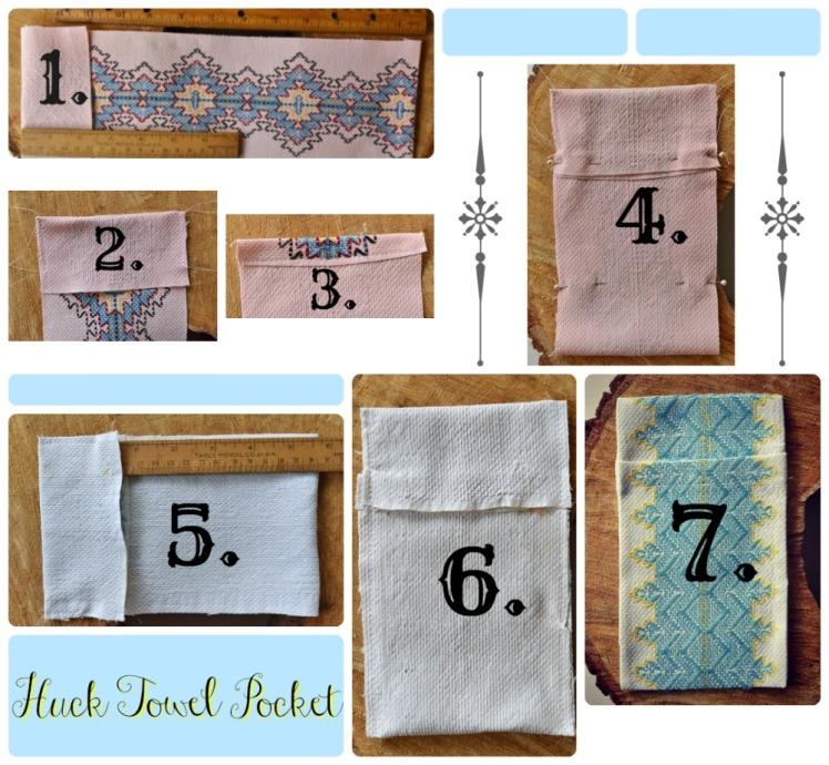 steps to make a huck towel pocket