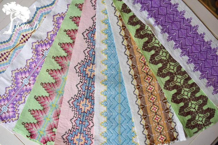 Swedish weaving on huckaback toweling.