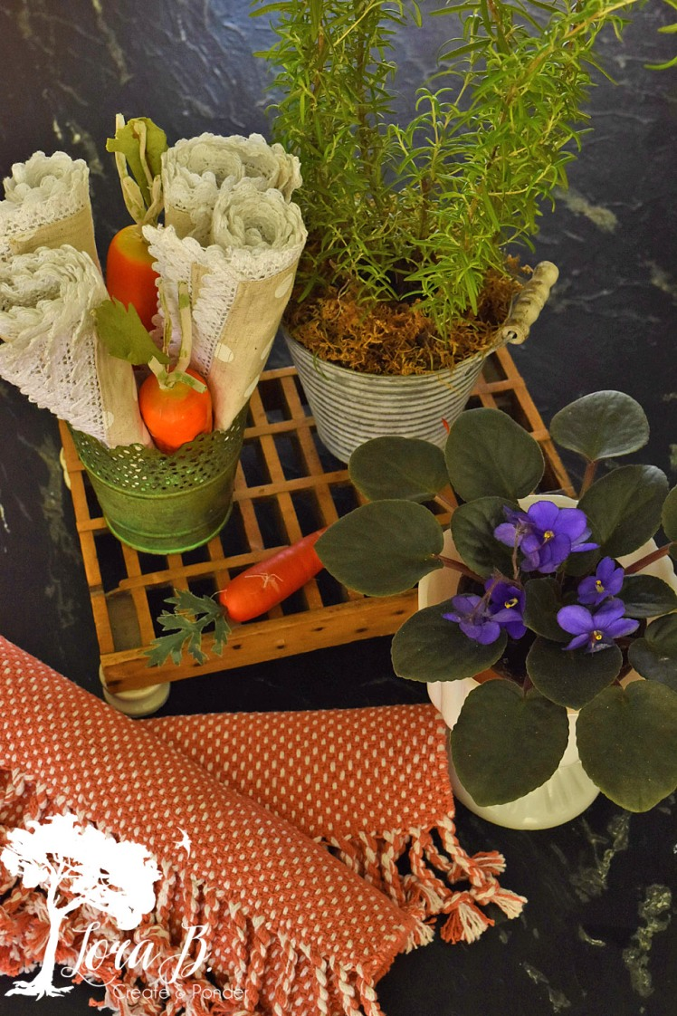 Easter centerpiece with carrots and flowers