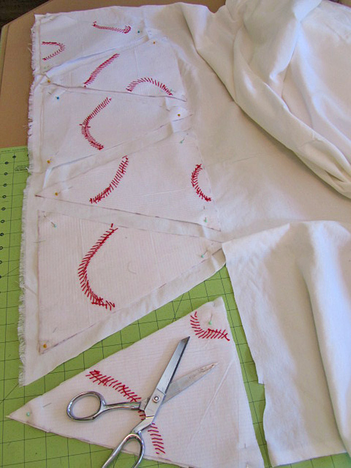 Baseball embroidered triangles