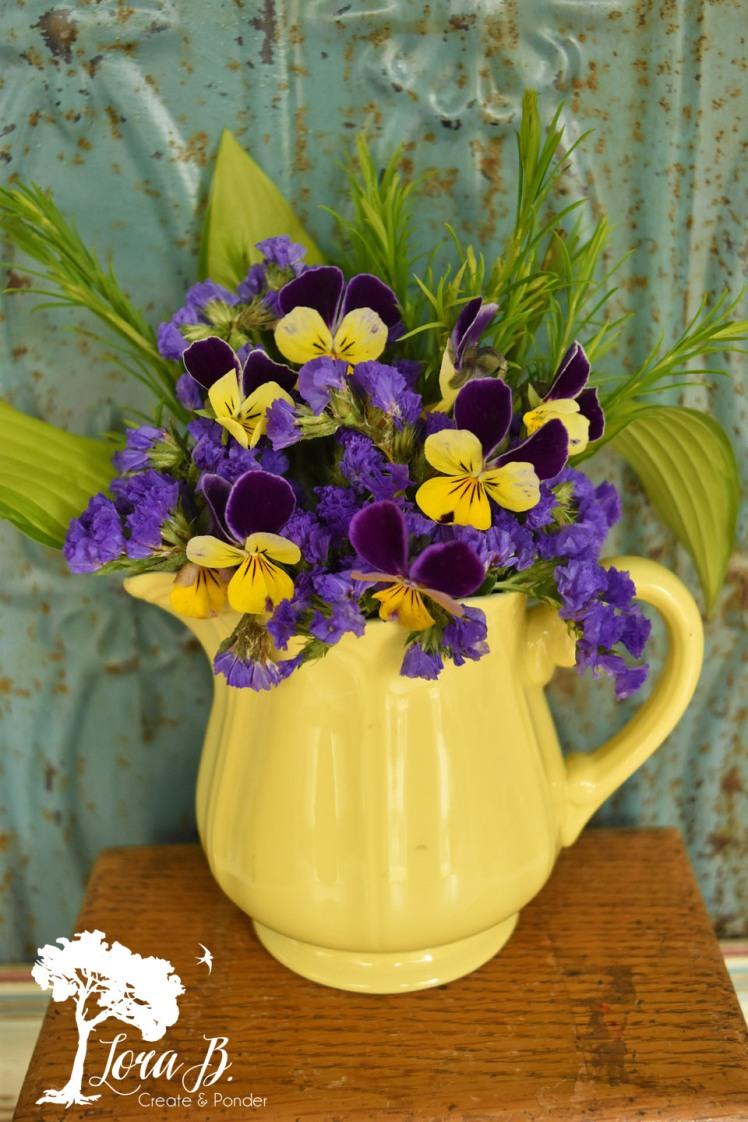 Wild violets in floral boquet