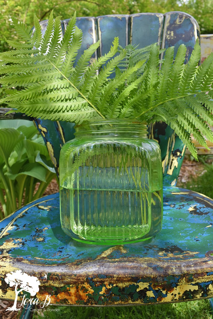 Ferns on a vintage blue metal chair
