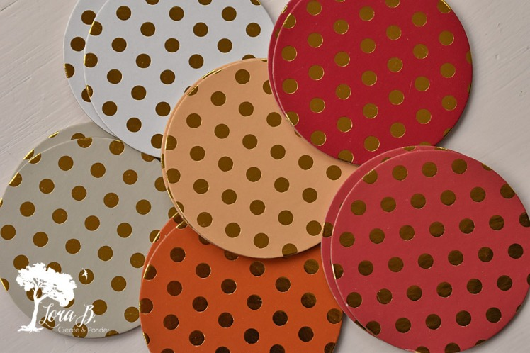 Gold polka-dotted coasters.