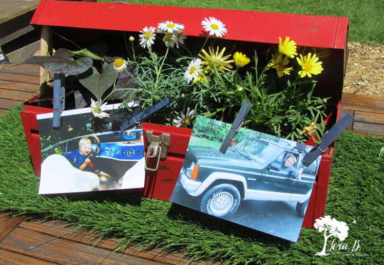 Flowers in a toolbox.