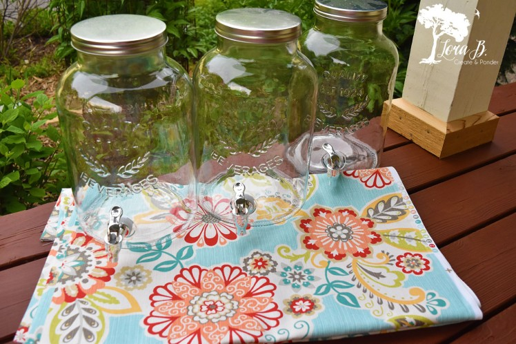 Glass jar drink containers.