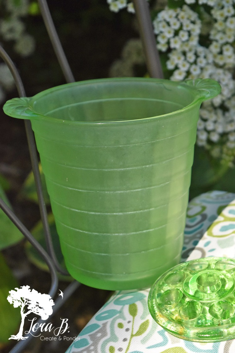 Green depression glass flower frog and vase