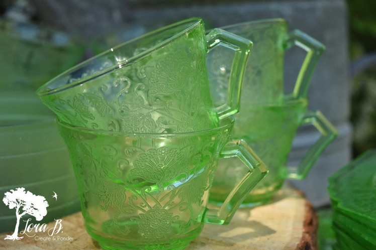 Green Depression Glass Cups
