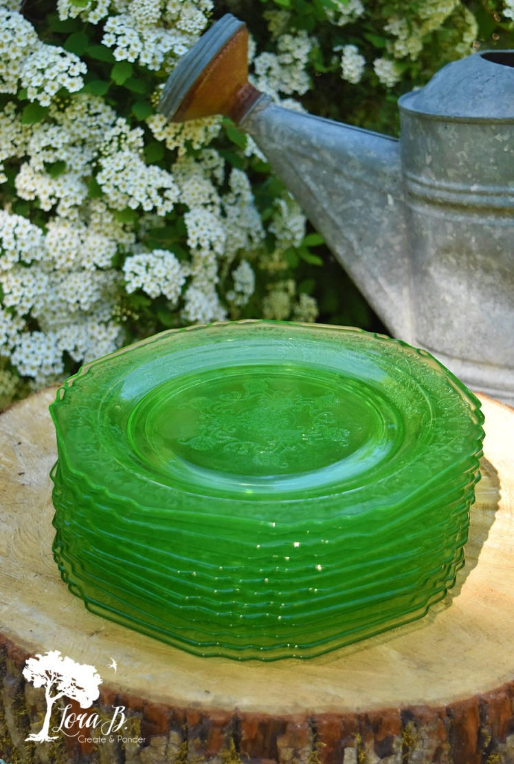 Stack of Florentine Poppy Green Depression Glass plates