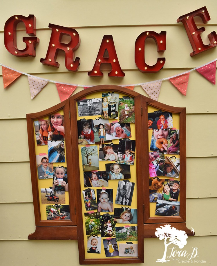 Old dresser mirror as photo display