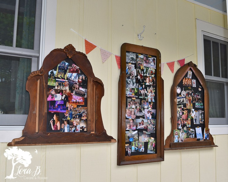 Vintage dresser mirrors as photo displays