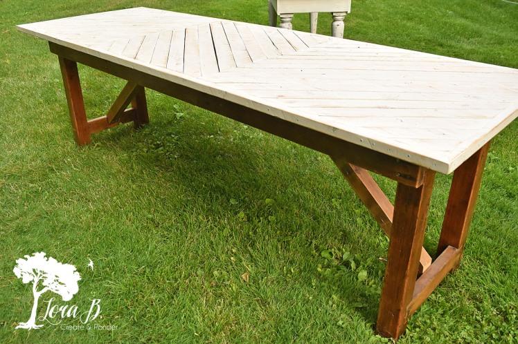 chevron-topped table