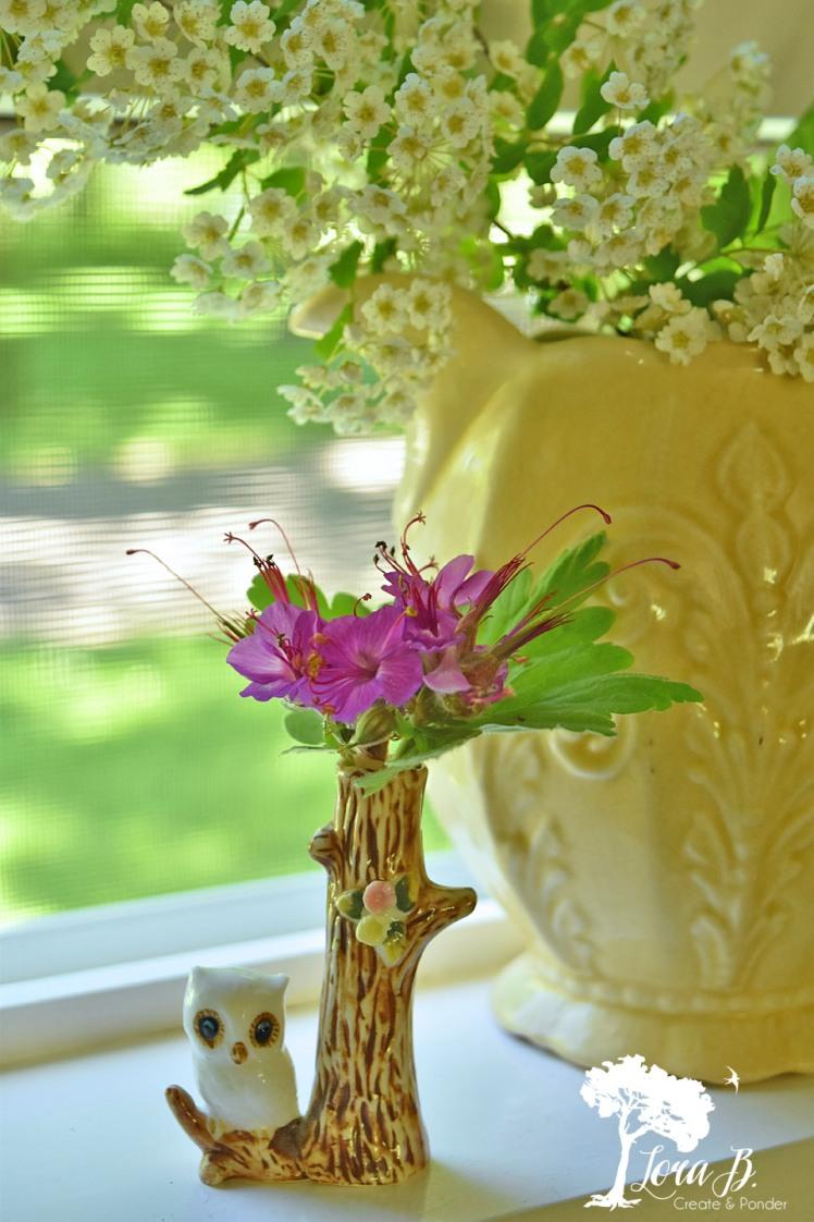 Vintage owl mini vase