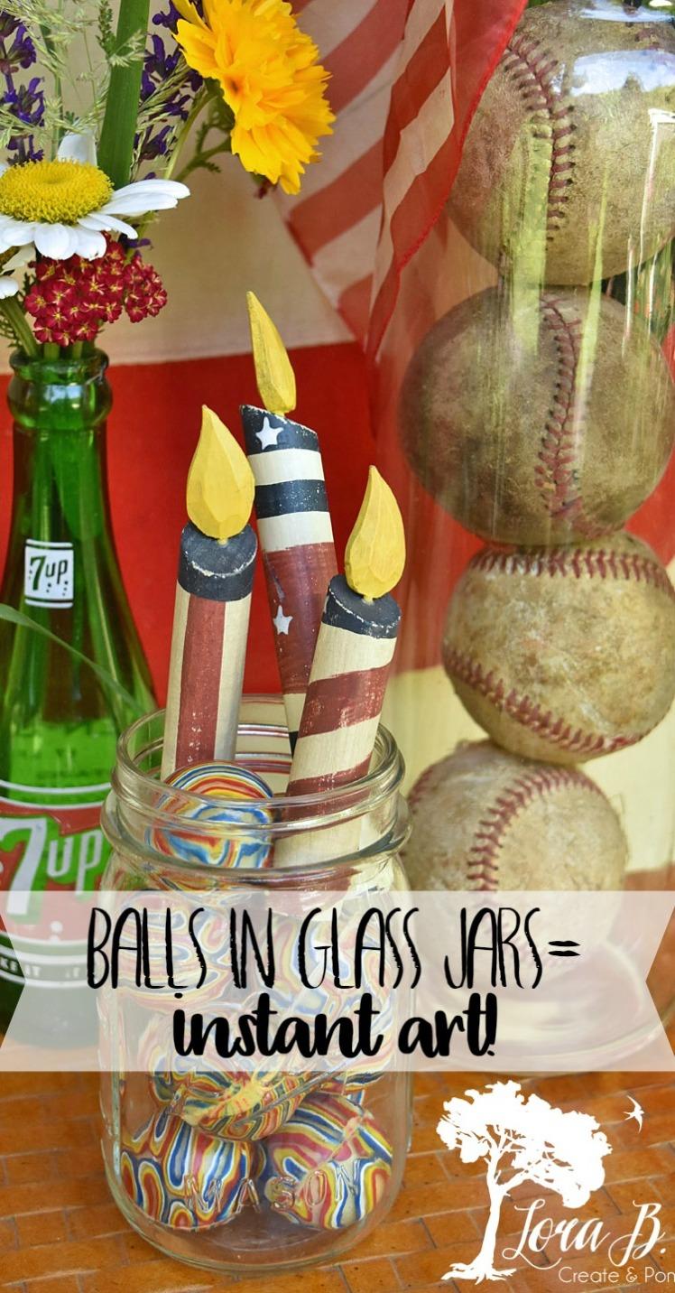 balls in glass jars