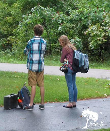 kids waiting for schoolbus