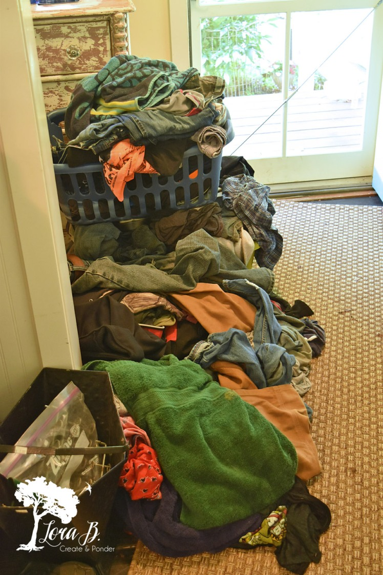 Dirty laundry pile.