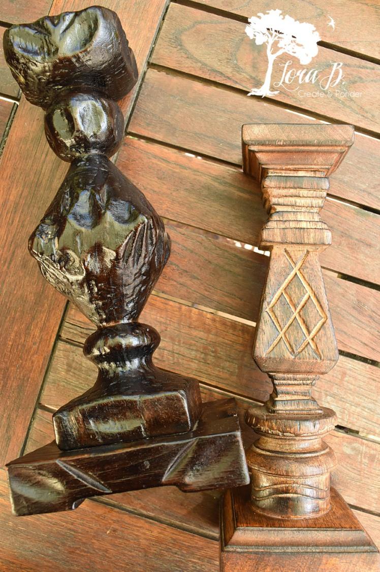 Wood candlesticks