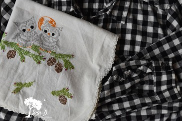 Update a flannel shirt with vintage linens.