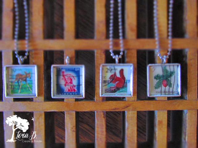 Vintage Stamp Necklaces