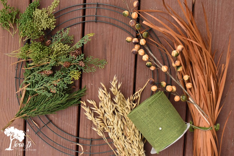 Materials for a harvest wreath