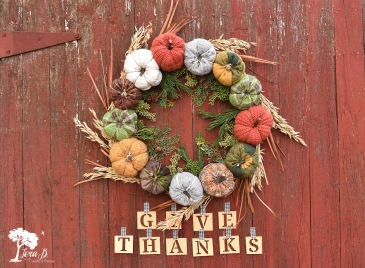 Thanksgiving Harvest Wreath, handcrafted.