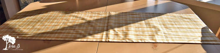 Plaid table runner as tablescape foundation