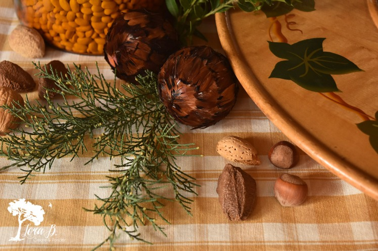 Shell-on nuts add texture to a Thanksgiving centerpiece.
