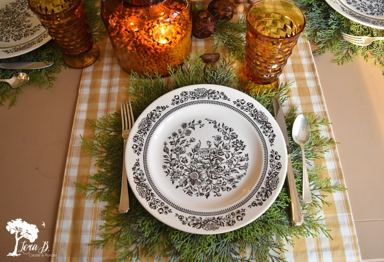 Brown transferware plates for Thanksgiving.