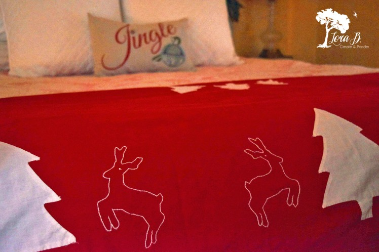 Red and white handcrafted bedspread
