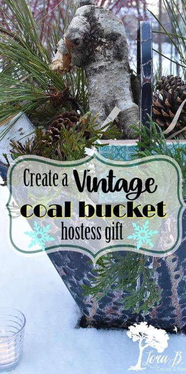 Vintage coal bucket hostess gift.