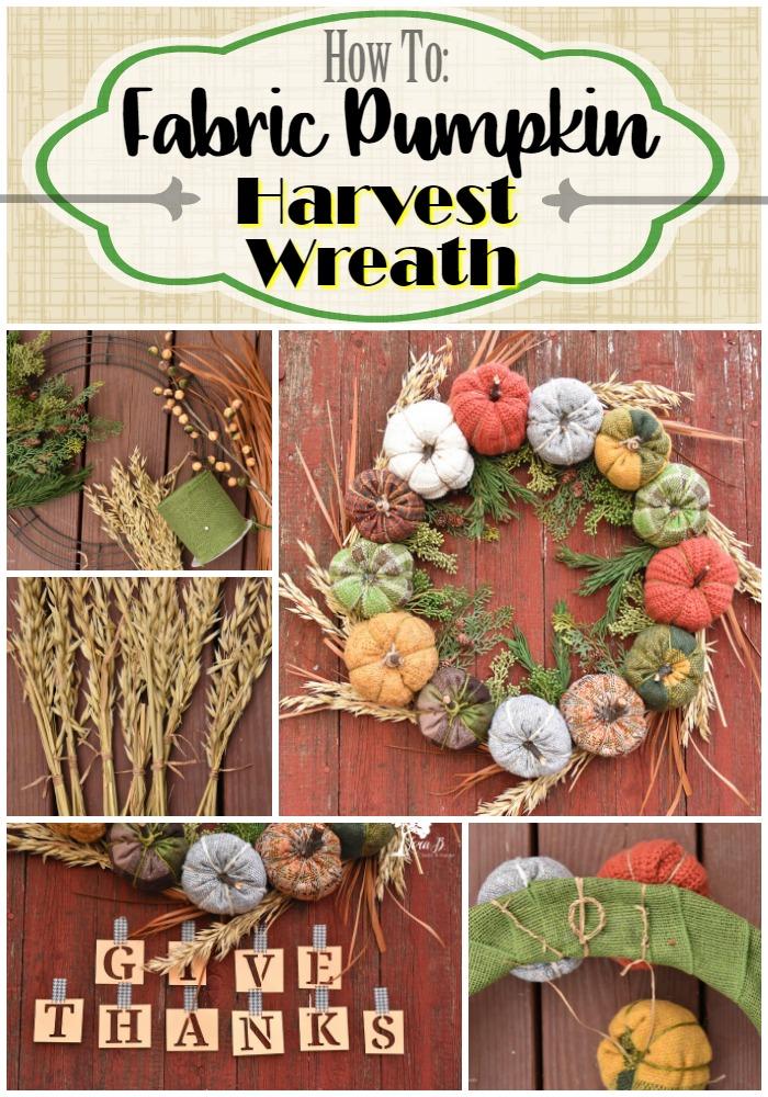 Fabric Pumpkin Harvest Wreath