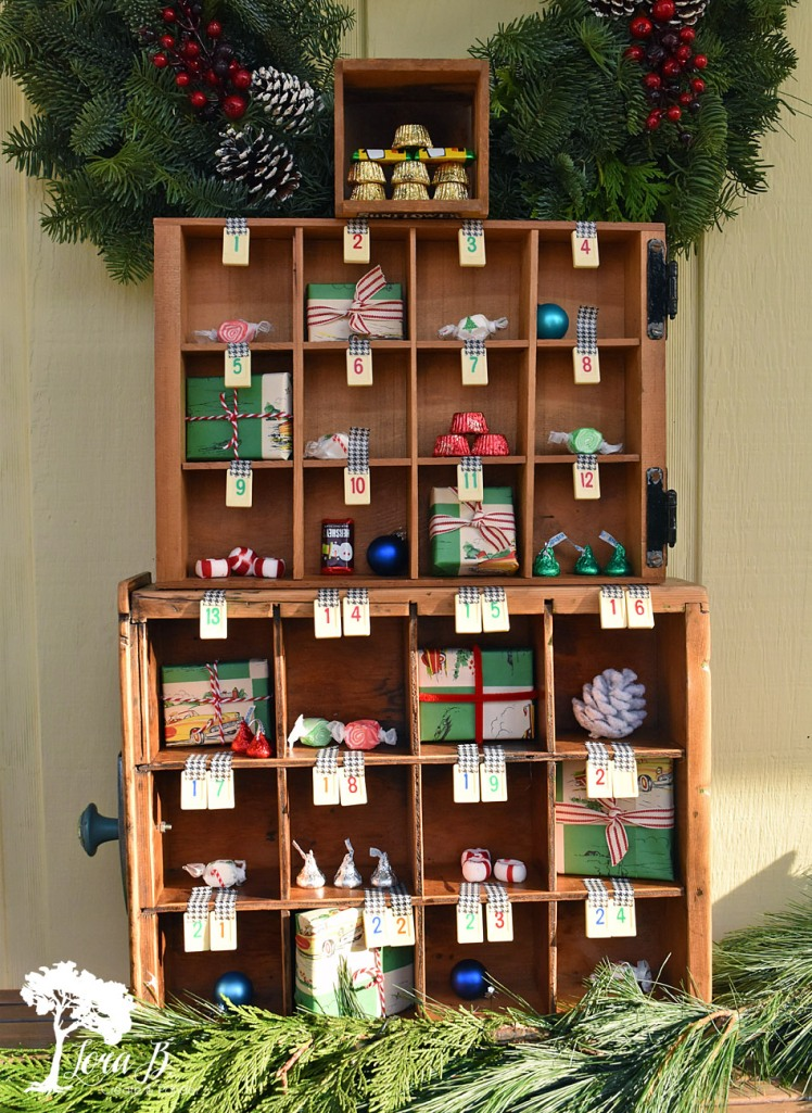 Drawers stacked to create Advent Calendar